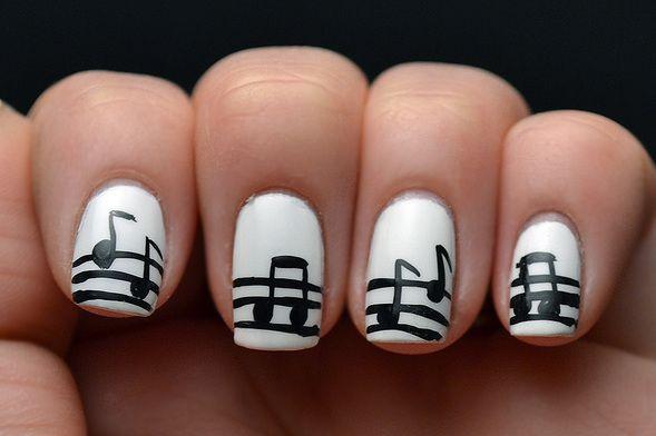 Music note nail art - Music Note Nail Art Misc. Freehand Nail Art Pinterest Music