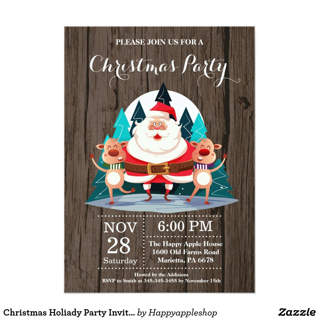 Christmas Holiady Party Invitation Santa Claus Party Invitations Party Christmas