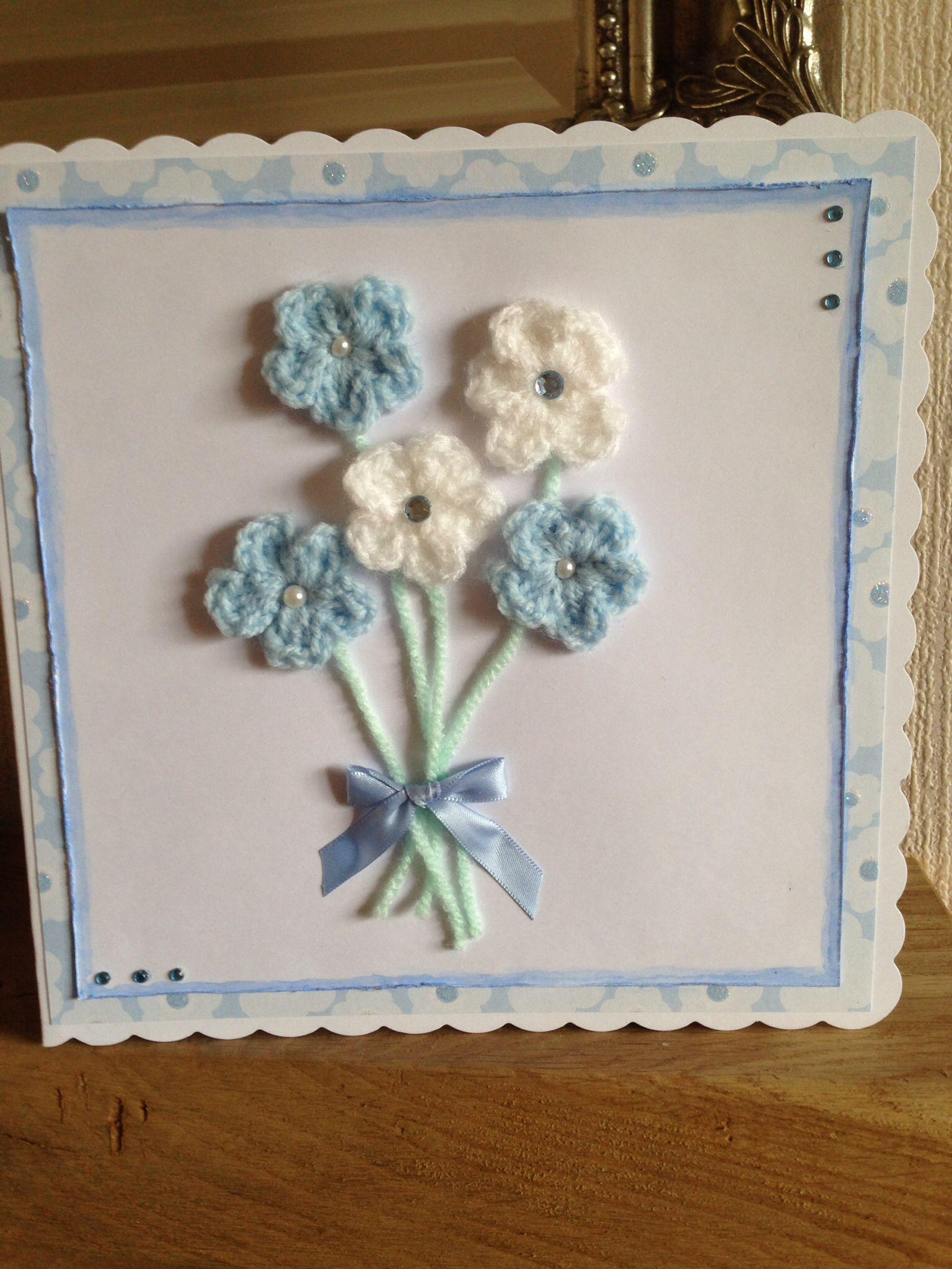 Handmade crocheted flowers motherus day card for my mam mom