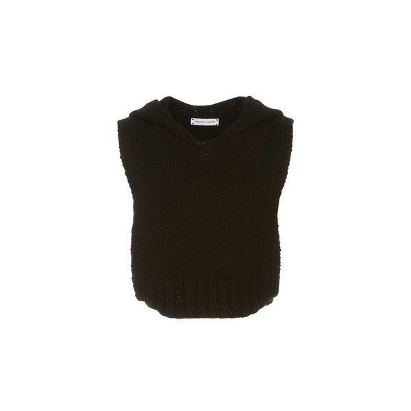 Spencer Vladimir Montauk Sleeveless Hoodie ($600) ❤ liked on Polyvore featuring tops, hoodies, brown hoodie, hooded sweatshirt, sweatshirt hoodies, sleeveless pullover hoodie and cropped hoodies