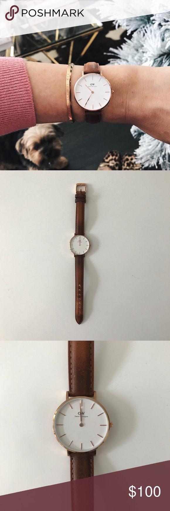 727aa1992c338f Daniel Wellington classic durham brown watch 32mm Lightly used Brown  leather band Classic petite Durham size
