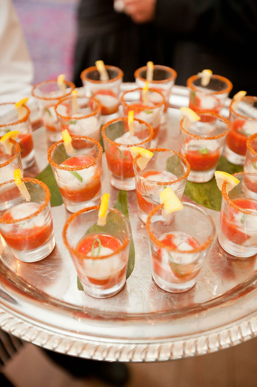 Oyster Shooters In Old Bay Spice Rimmed Glasses Passed Hors D