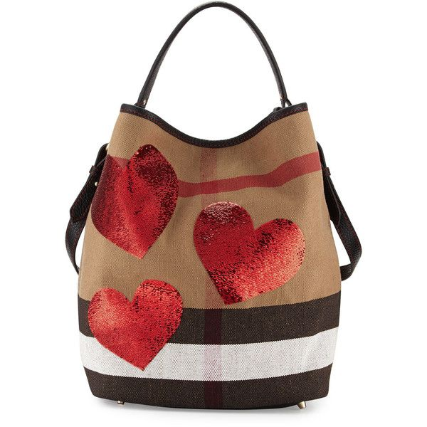 22037064da83 Burberry Ashby Medium Heart Check Canvas Hobo Bag ( 1
