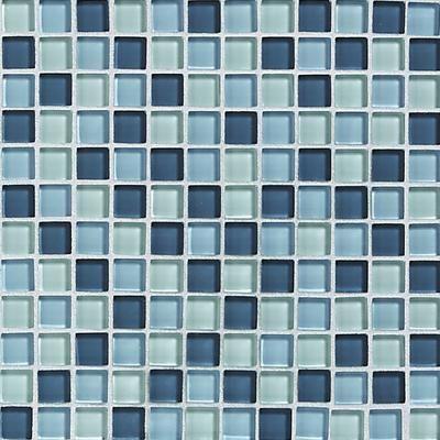 Dal Tile Glass Reflections 1x1 Winter Blues Blend Tile