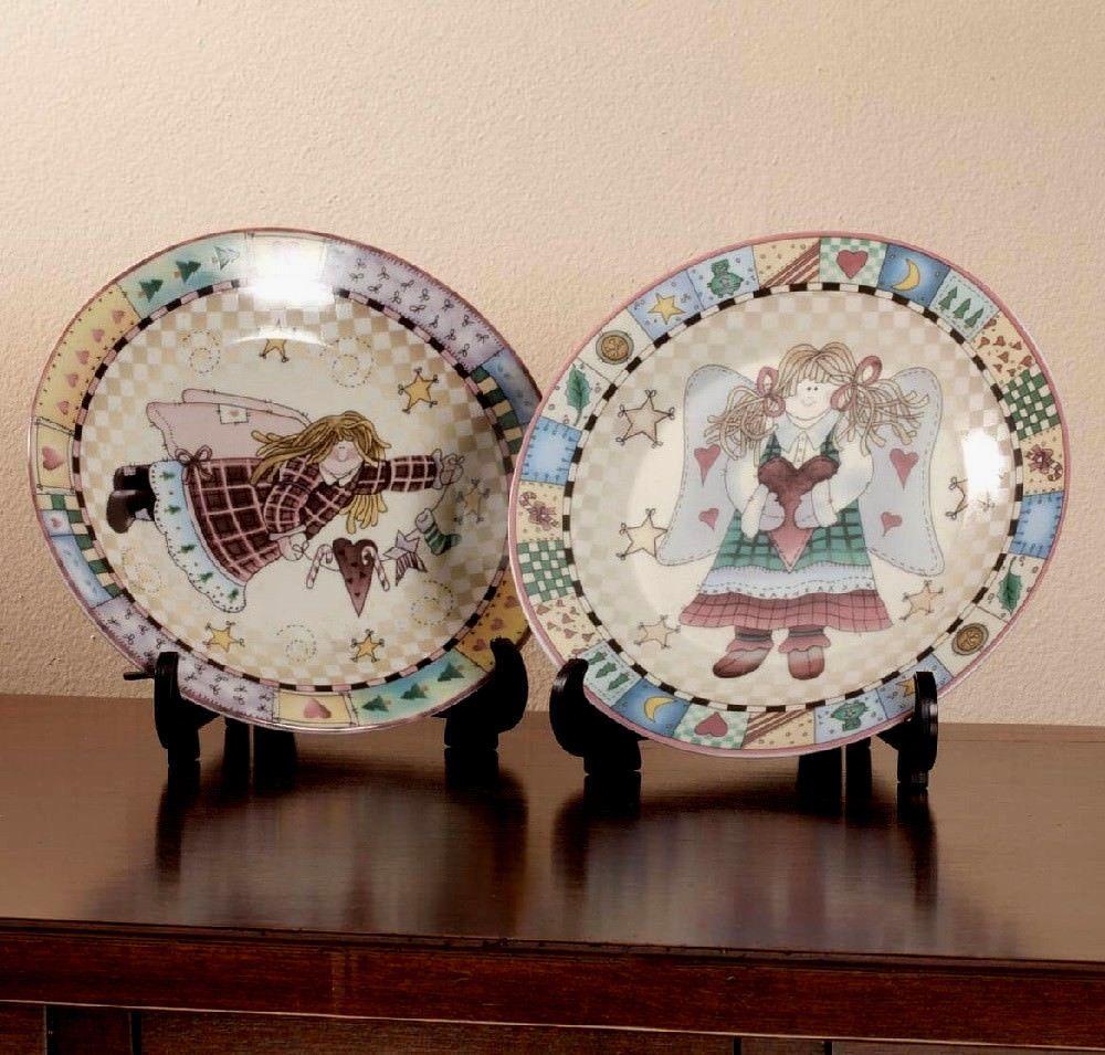Set Of 2 Country Folk Art Angel Ceramic Display Plates Plate Display Folk Art Art