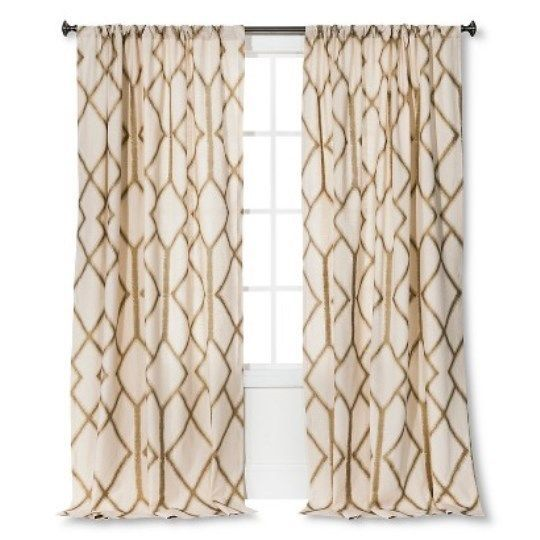 1 Threshold Gold Metallic Trellis Window Panel 54 X 84 Multicolor Nwop Panel Curtains Curtains Dining Room Curtains