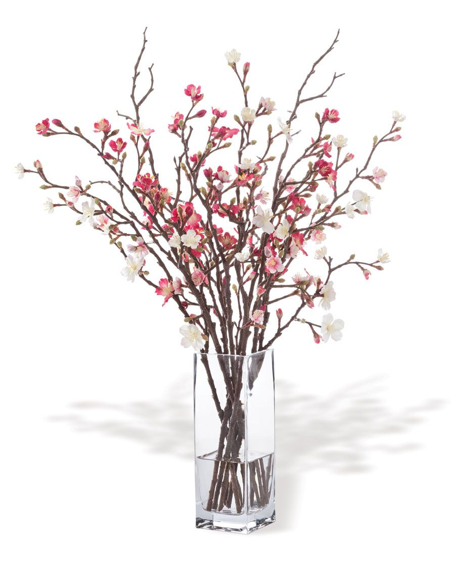 Cherry Blossomsilk Flower Arrangement Fake Flower Arrangements Modern Flower Arrangements Home Flower Decor