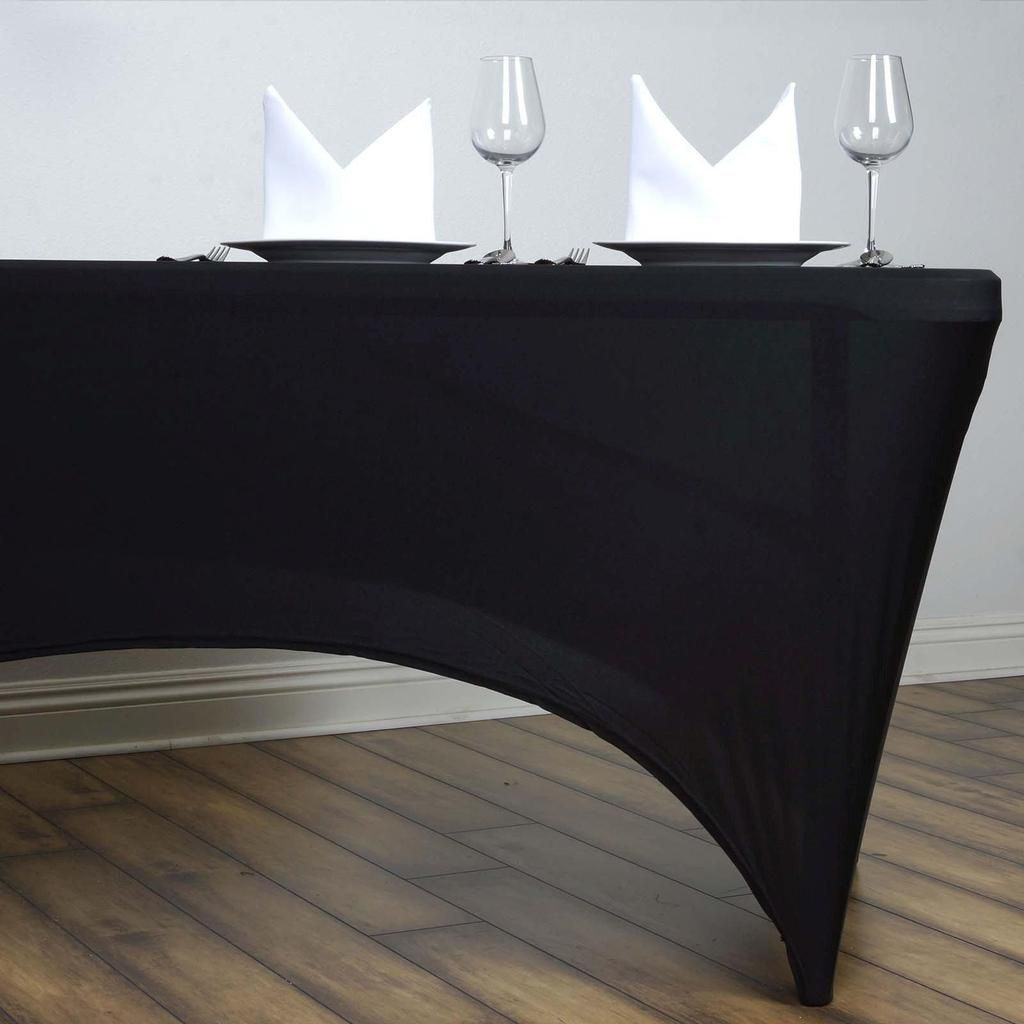 Silver Your Chair Covers 6 ft Rectangular Fitted Spandex Tablecloths Patio Table Cover Stretchable Tablecloth