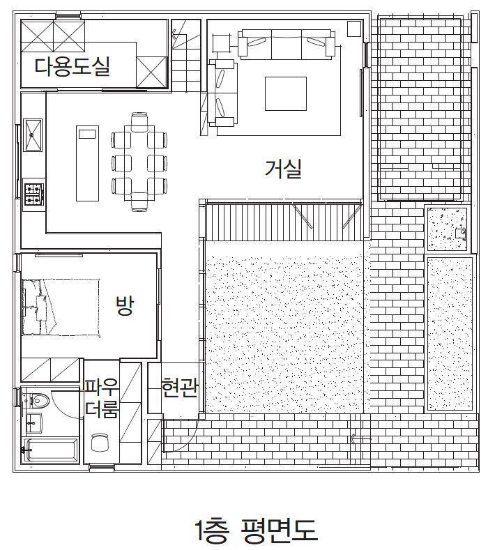 광교 단독주택 담과 가벽으로 개방감 확보와 사생활 보호한 집 집 작은 집 집 평면도