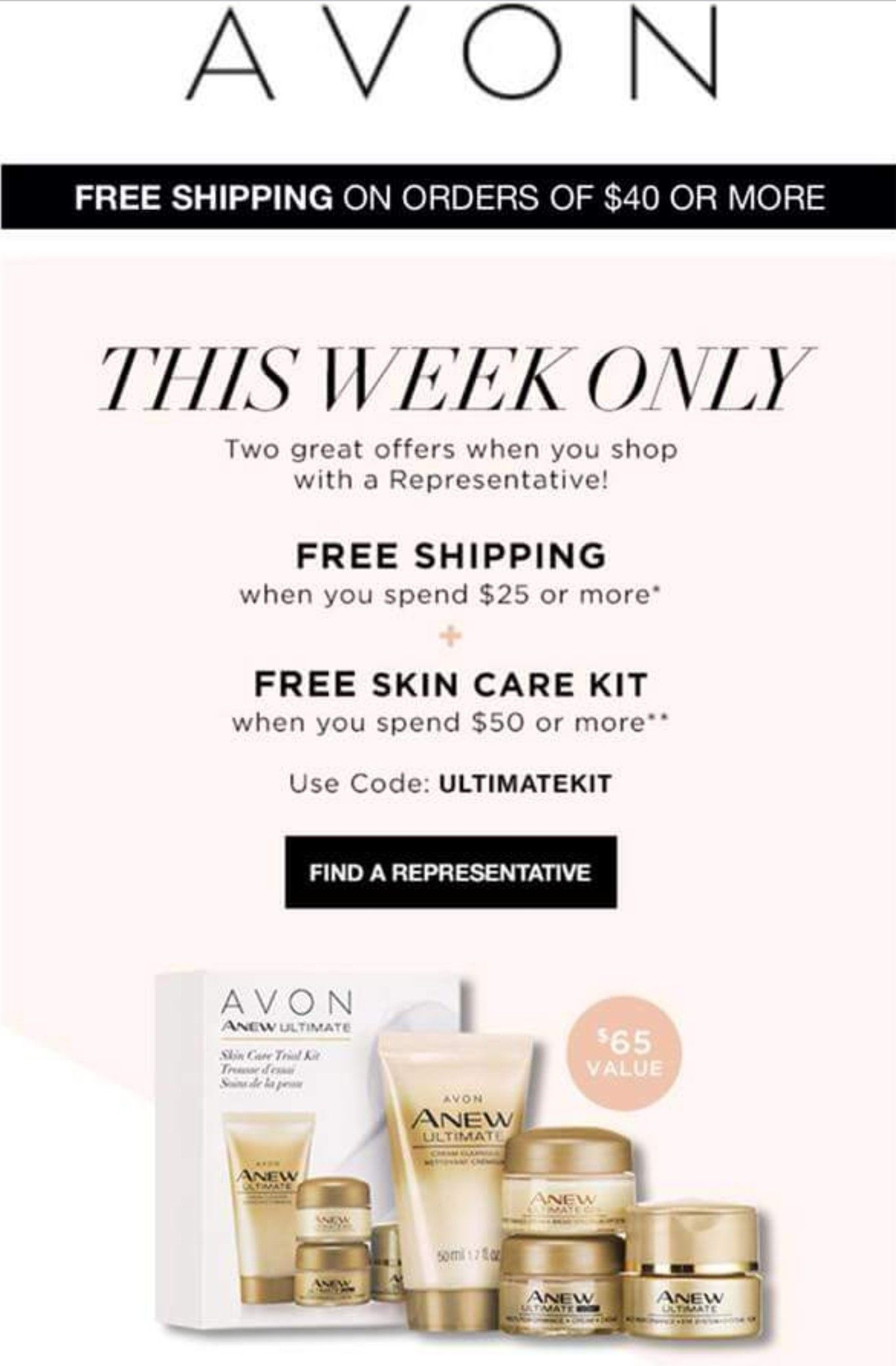 Such A Great Deal Love My Anew Ultimate Skin Care Products Plus If You Are A New Customer With Me Yo Free Skin Care Products Skin Care Kit Avon Free Shipping