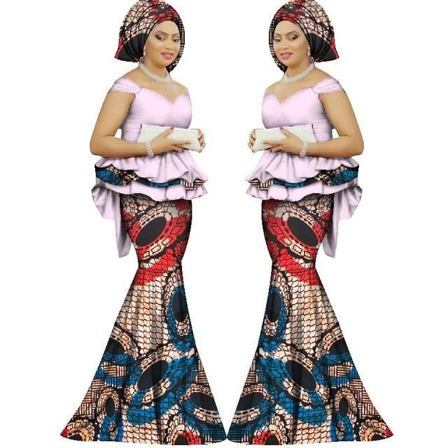 Plus Size Dashiki Print Skirt And Blouse Dress African Clothing