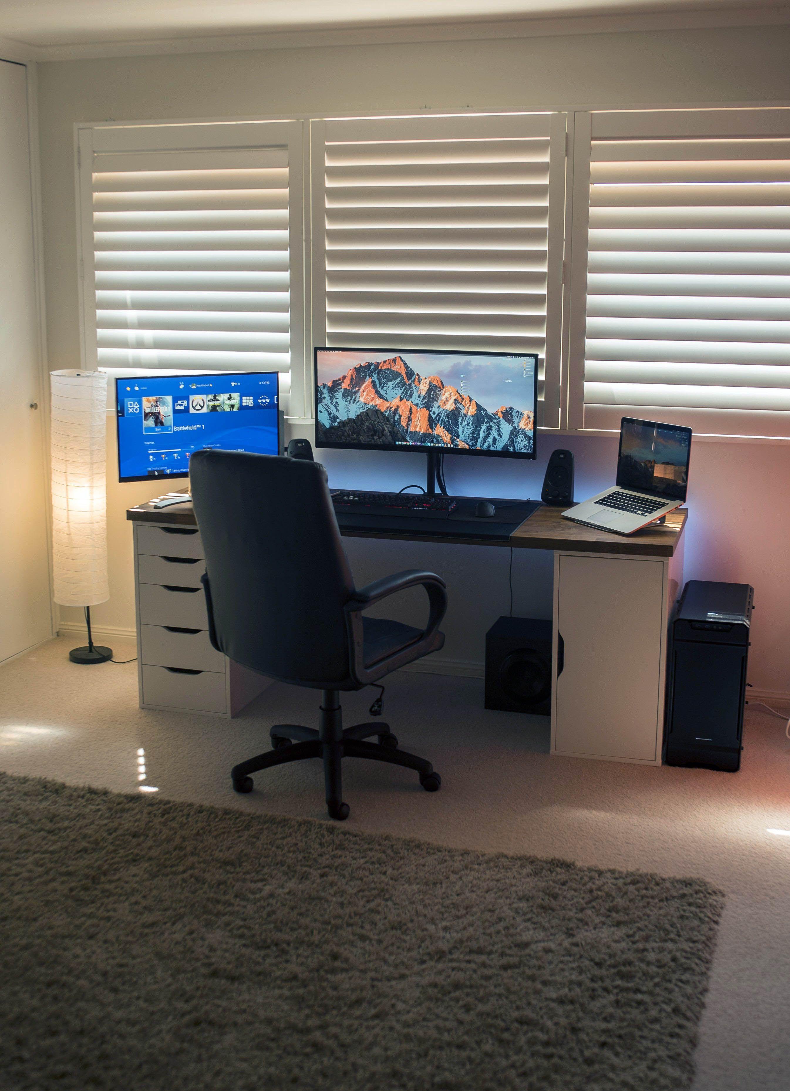 Great Gaming Desk 60 Inch Just On Homesable Home Design Desk Setup Diy Computer Desk Home