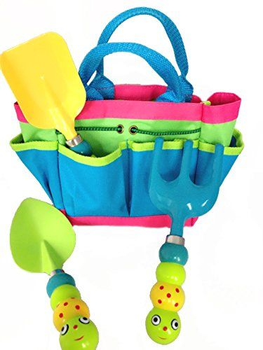 Kids Garden Tool Set with Tote Tools Handles Made As Cute Bugs