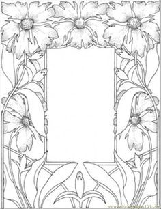 Picture Frame Colorful Flowers Adult Coloring Pages Books Free