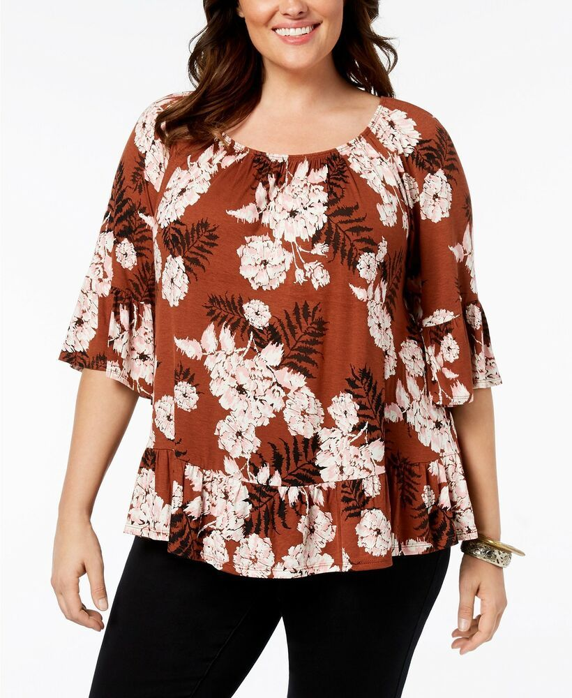 ece4f9bbba6d2d 2X Style   Co Plus Size Printed Off-The-Shoulder Flounce Womens Top ...