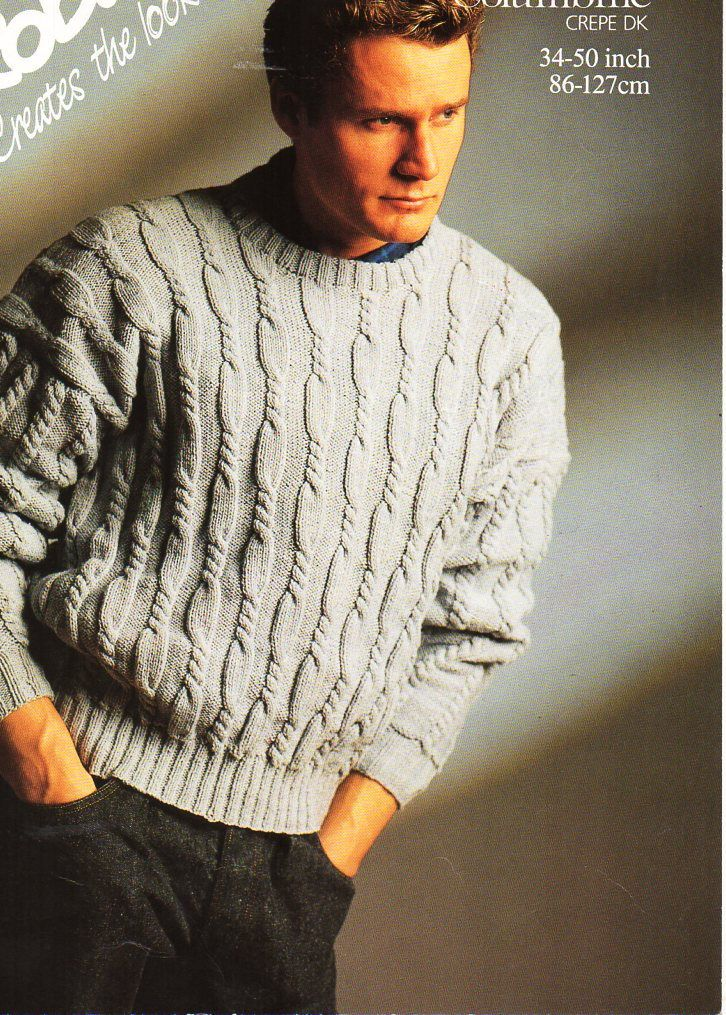 d489fe8e4a2c mens sweater knitting pattern pdf mens cable jumper round neck larger sizes  34-50
