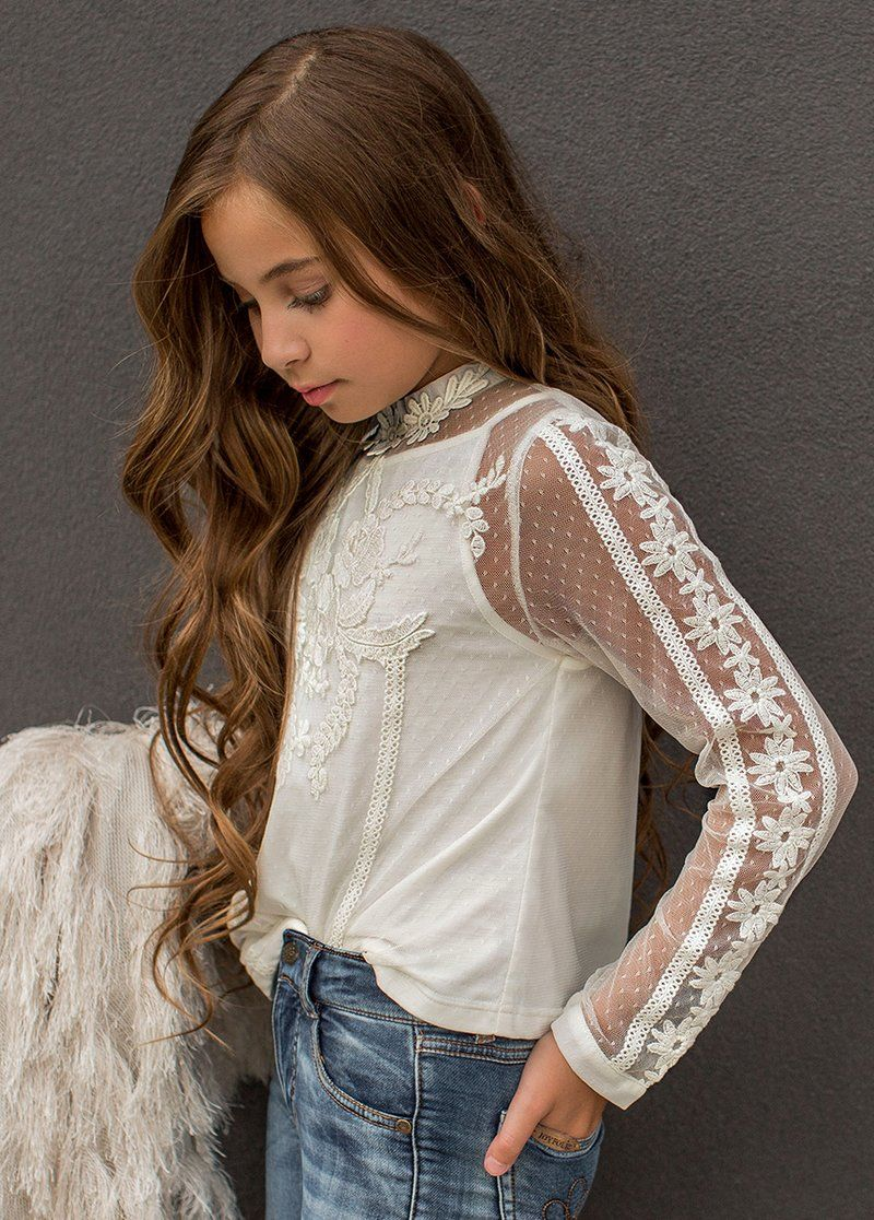 Lillie Lace Top | Girls fashion tween, Little girl models ...