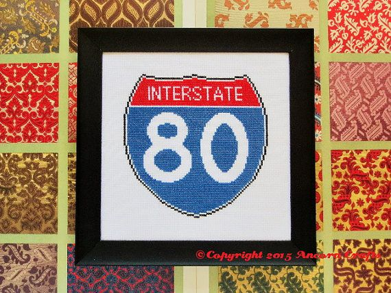 Interstate Road Sign Cross Stitch Pattern PDF | Road Sign