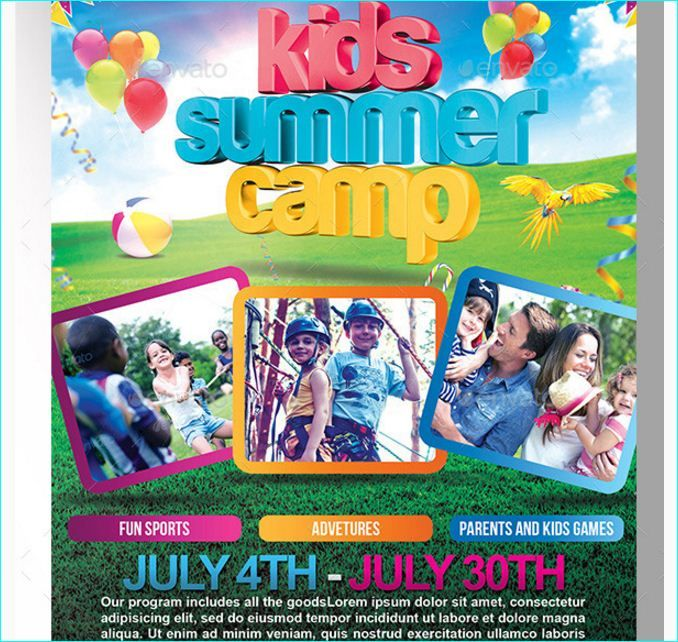 Kids Summer Camp Flyer Templete - Party Flyer Templates For Clubs