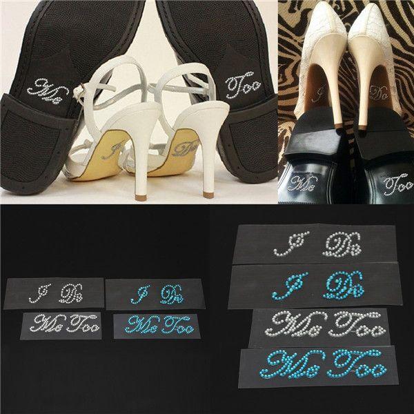 Etiqueta Limpar strass decoração Diamante de cristal presente para a noiva / noivo azul / prata sapatos de casamento