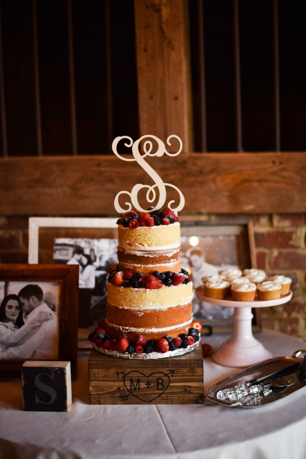 Rustic Wedding Cake Stand Cupcake Engraved Downintheboondocks By On Etsy