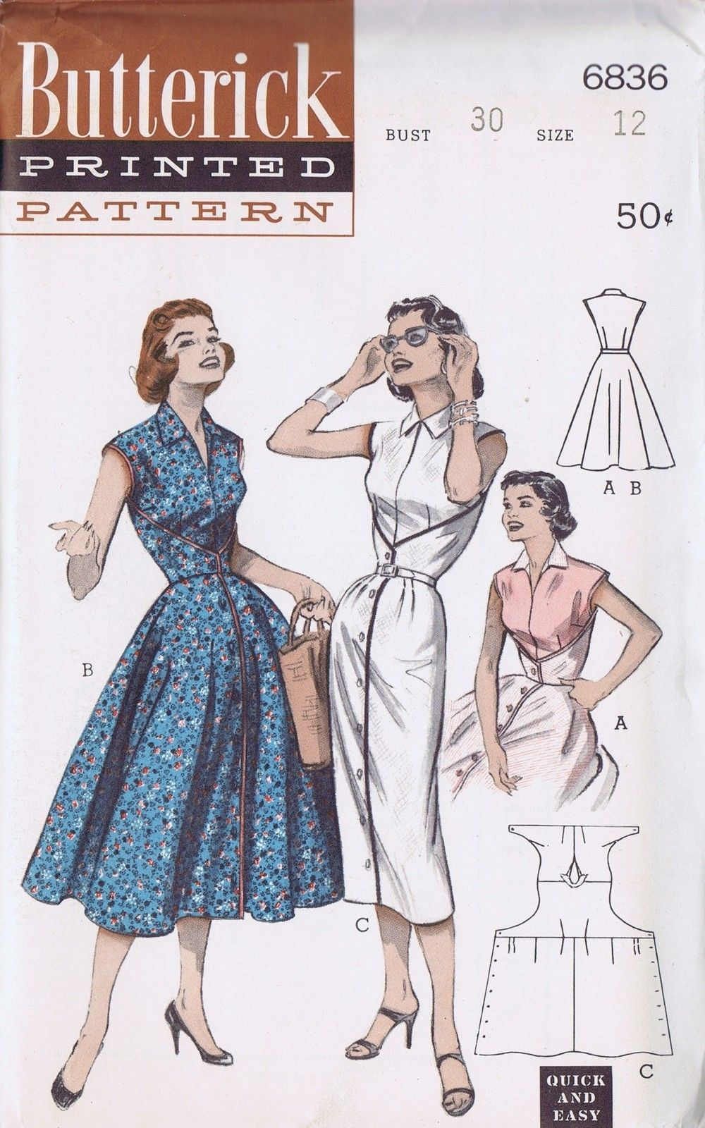 VINTAGE WRAP DRESS SEWING PATTERN 6836 BUTTERICK 50s SZ 12 BUST 30 ...