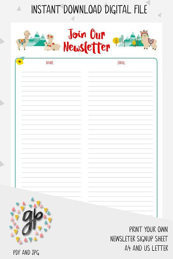Email Sign Up Sheet Template Delectable Llama Newsletter Sign Up Sheet Email Subscription List Handmade .