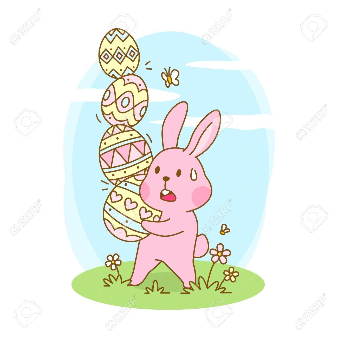Cute bunny holding easter eggs vector cartoon , #Sponsored, #holding, #bunny, #Cute, #easter, #cartoon