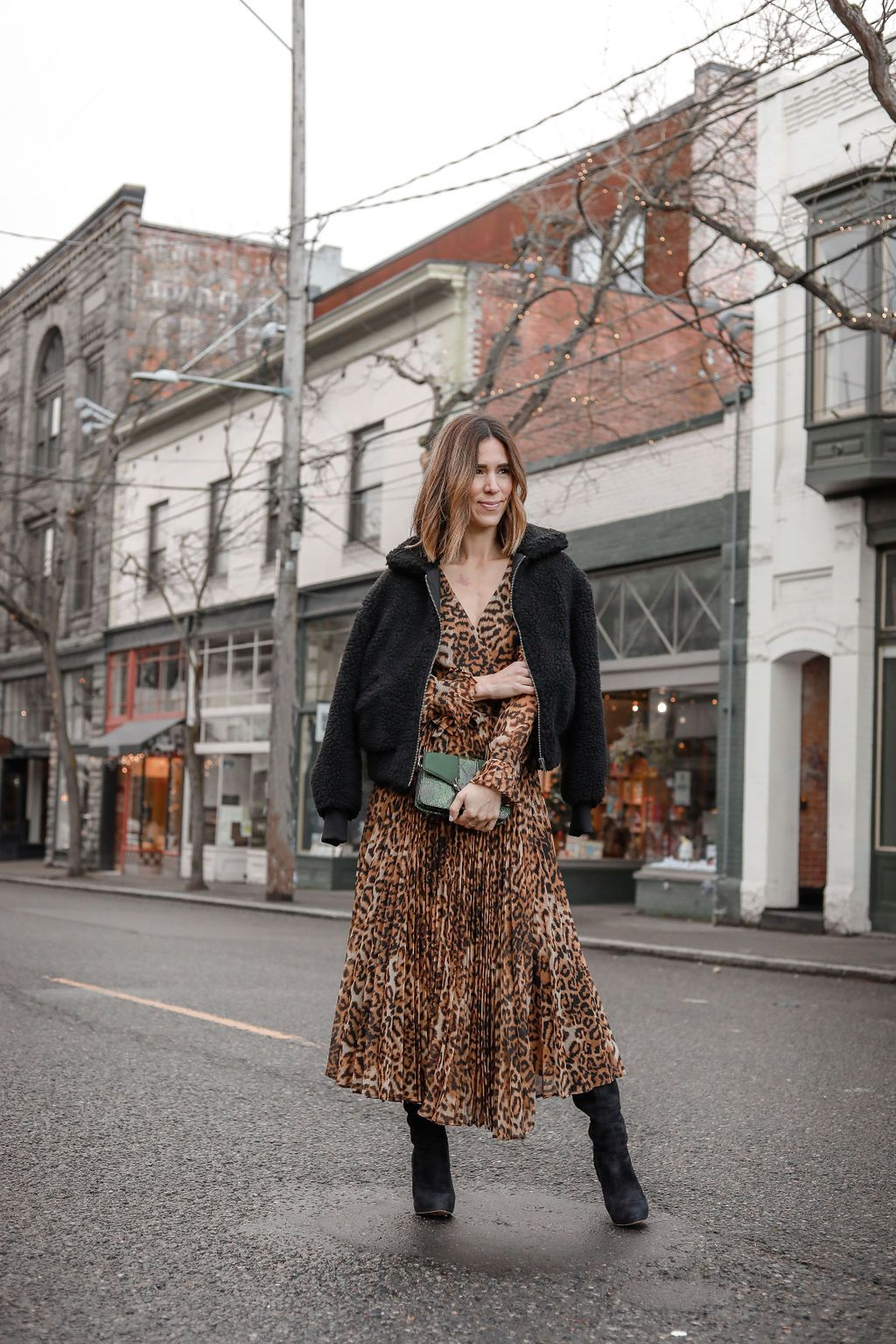 5a7d96b24984f1 Pleated Leopard Dress + Over the Knee Boots