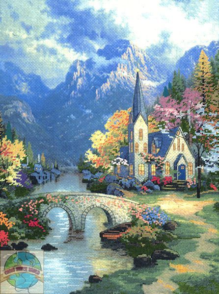 Mountain Chapel cross stitch. Original painting by Thomas Kincaid R.I.P
