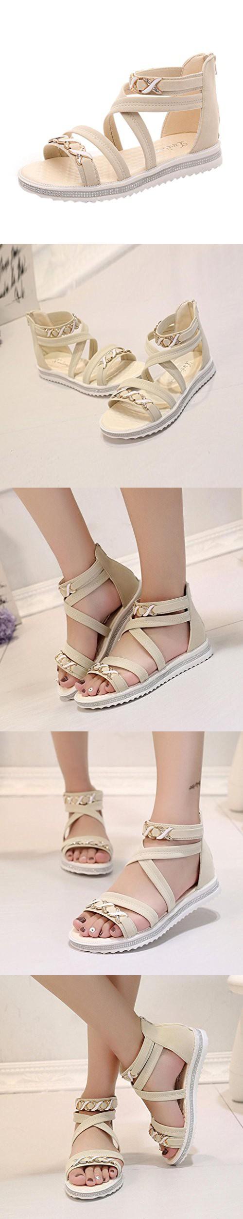 e5e2d5608 Fheaven Women Flat Shoes Summer Soft Leather Leisure Ladies Sandals Strip  Cross Sandals (China size