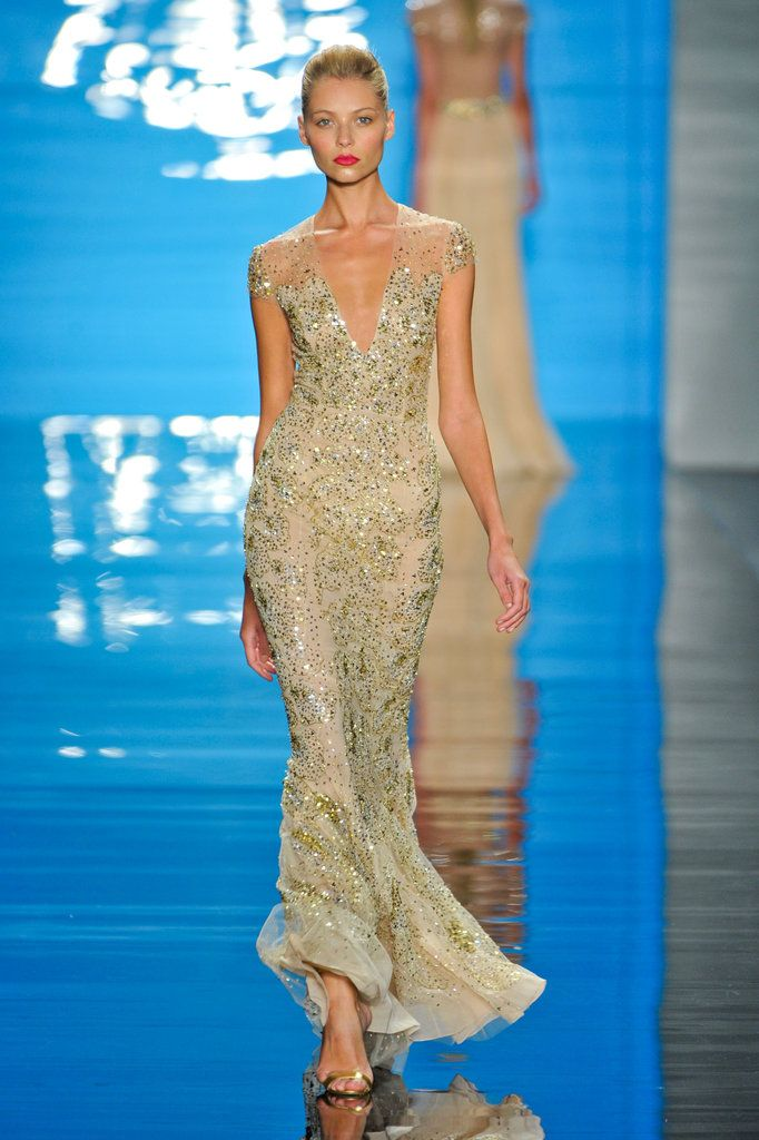 Reem Acra Spring 2013 - Gold Sparkle Time.