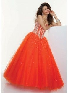 A Line Orange Prom Dress