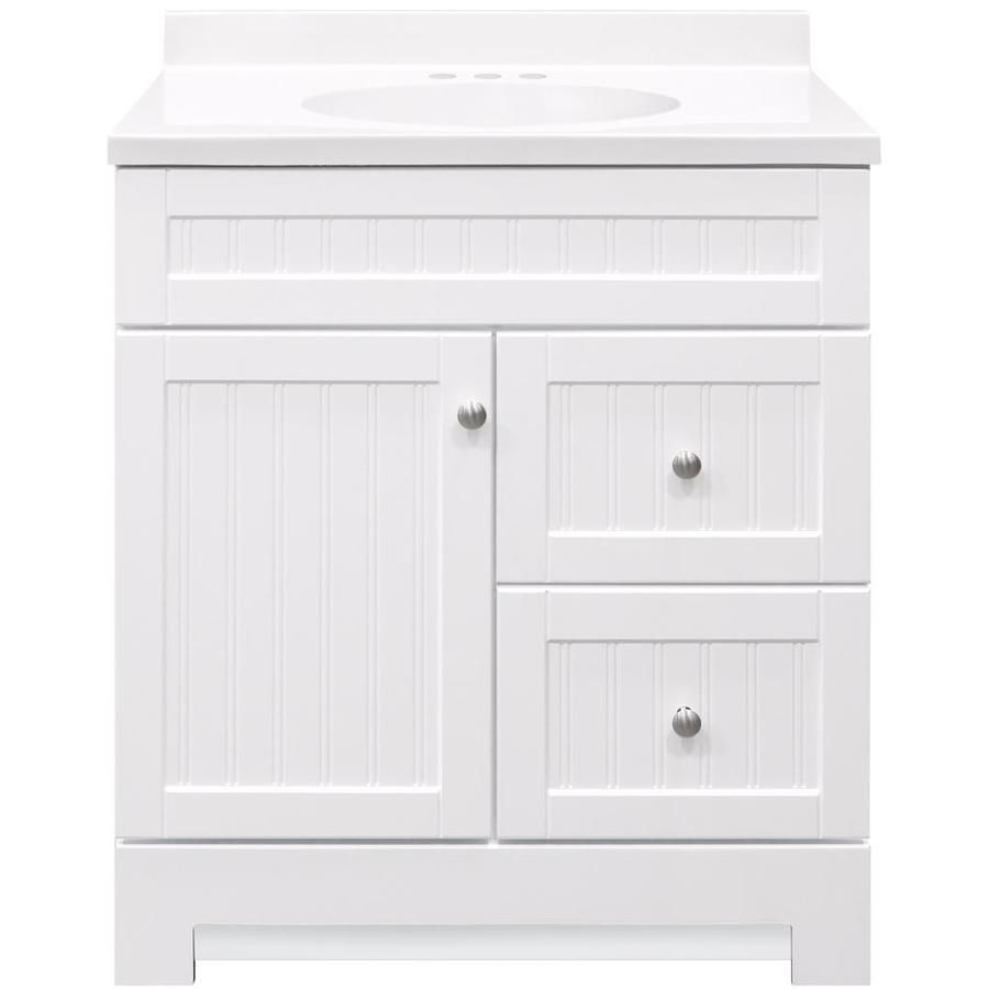 Style Selections Ellenbee White Single Sink Vanity With White