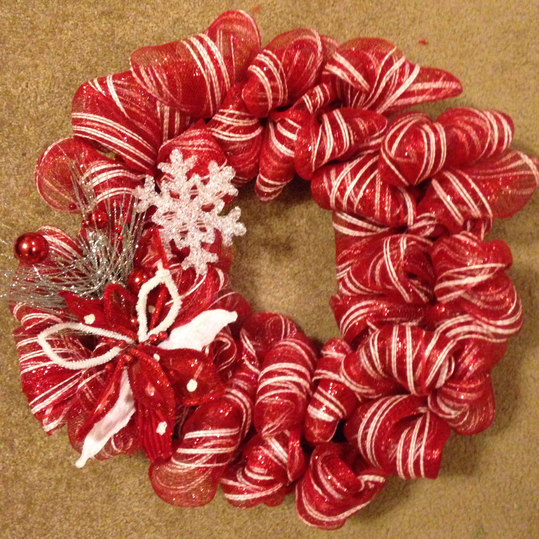 Mesh Christmas Wreath #DIY | Wreaths | Pinterest