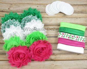 Valentines Pink & White Headband DIY Kit Baby by WholesaleDeZigns