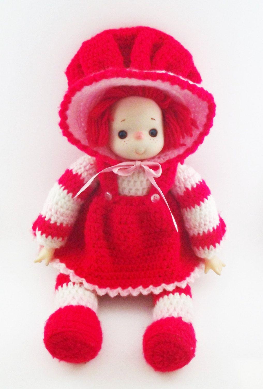 Vintage Strawberry Shortcake Doll/ Handmade Strawberry Shortcake Doll/ 1980's Strawberry Shortcake Doll/ Crocheted Strawberry Shortcake Doll by KMVintageTreasures on Etsy