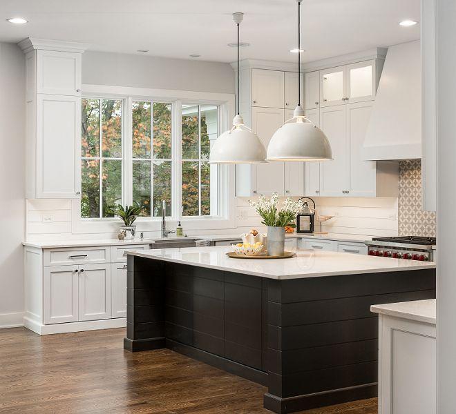 Kitchen Cabinets Naperville: White Kitchen With Black Shiplap Island White