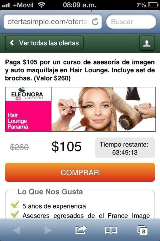 Una promocion de Hair Lounge Panamá, los dias 30, 31 y 1 de agosto en oferta simple Panamá