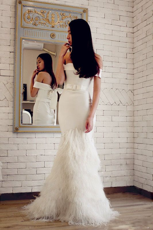 Custom Mermaid Off Shoulder Feathers Wedding Dress By Susiewear