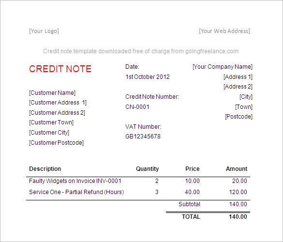 Credit Memo Template Excel Free