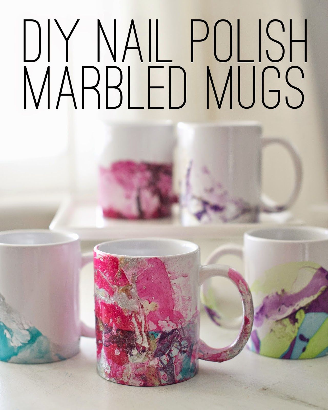 Domestic Fashionista DIY Marbled Nail Polish Coffee Mugs