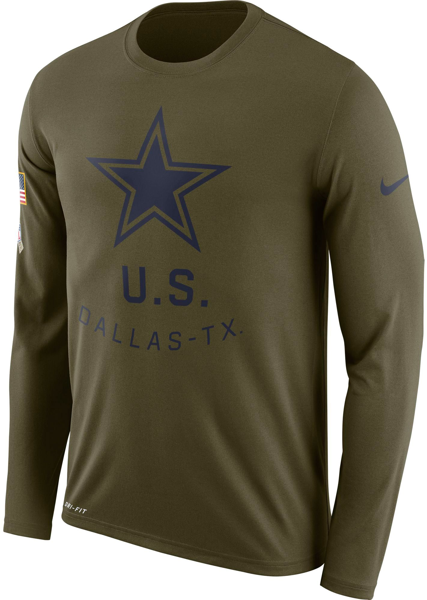 68124d819fc Nike Men's Salute to Service Dallas Legend Performance Long Sleeve Shirt,  Size: Large, Green