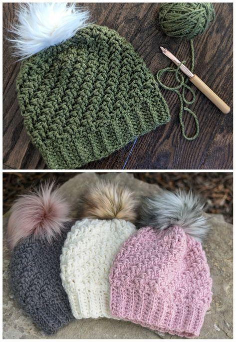 Diagonal Raised Beanie Crochet #crochetedhats