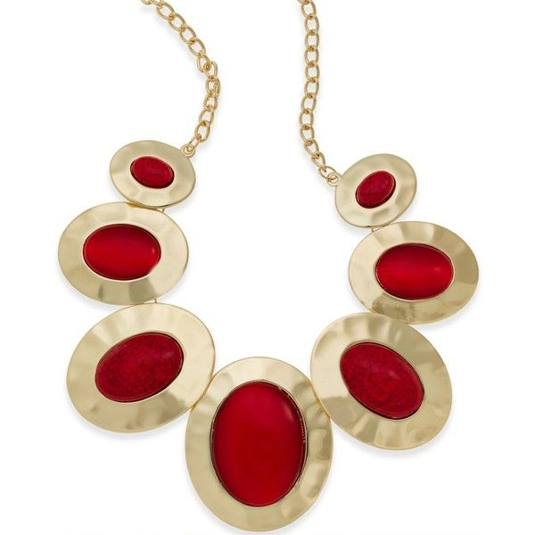Style & Co. Gold-Tone Red Stone Drama Necklace (£22) ❤ liked on Polyvore featuring jewelry, necklaces, style & co., gold tone necklace, gold colored necklace, style & co jewelry and stone jewelry