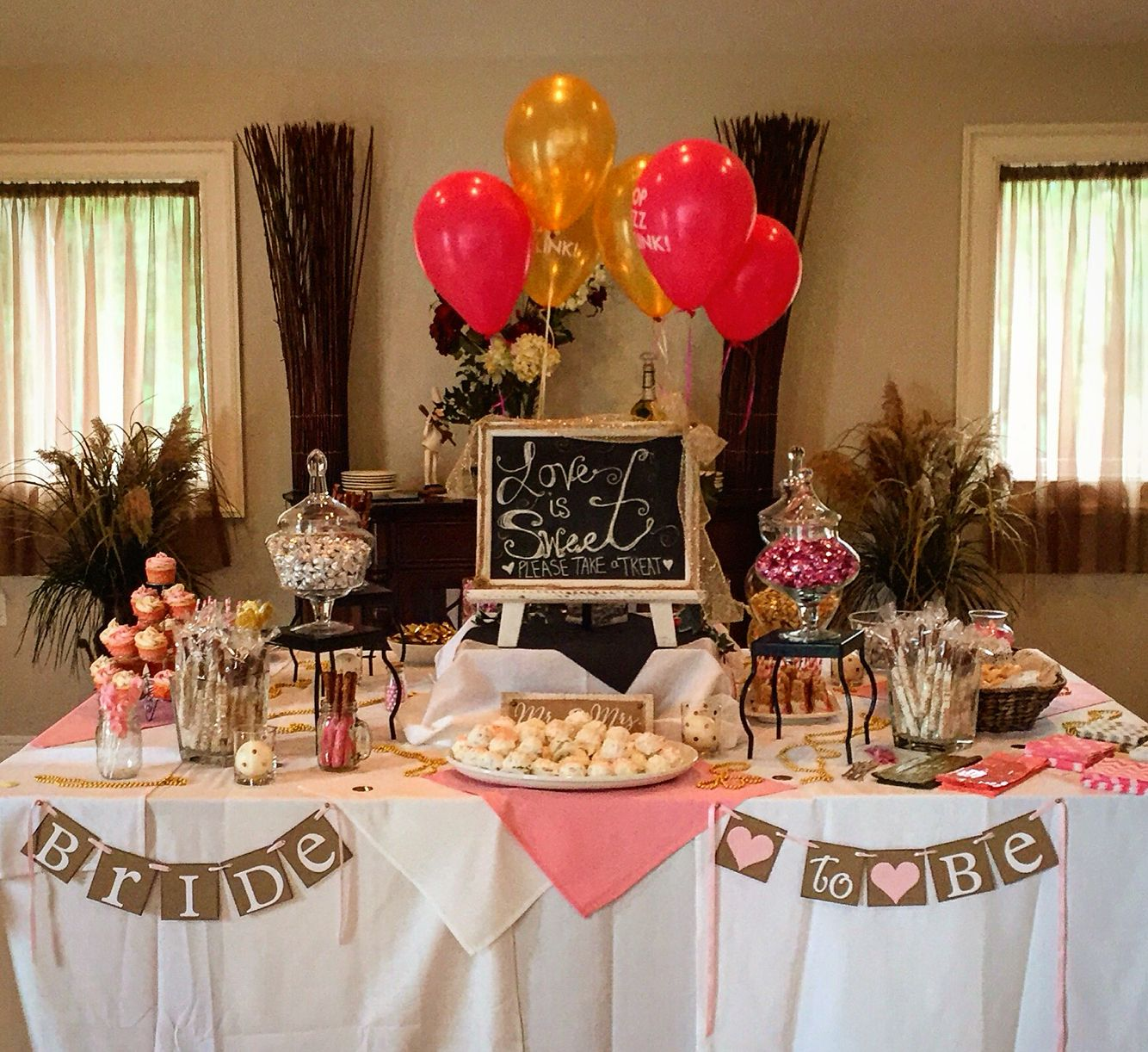 Pink and gold bridal shower dessert table. Brunch and bubbly ...