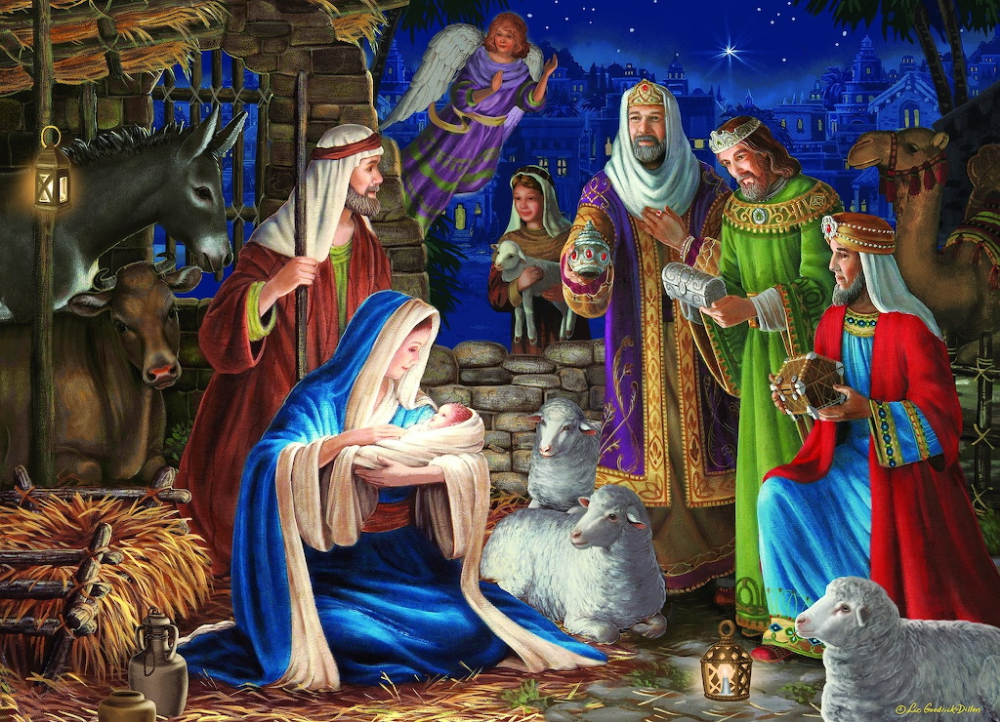 Puzzles for Adults 1000 Pieces Jigsaw Puzzle Holy Night Large Puzzle Games Nativity Scene Puzzles,Home Decoration,Office Wall Decoration Painting,Halloween