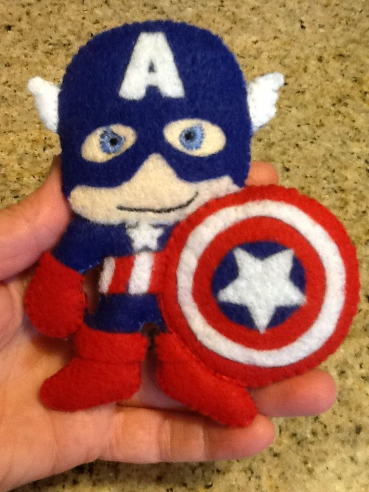 "Captain America. The first figure for a superhero mobile for the coming baby of my supersweet ""niece""!"