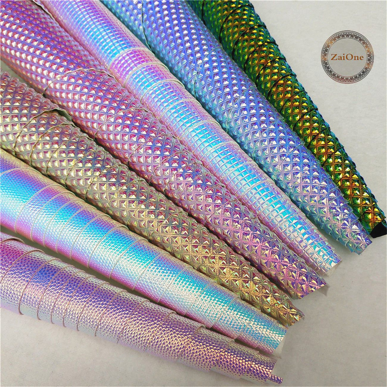Holographic Pebble Grain Faux Leather Fabric Pieces Material Crafts Vinyl Sewing