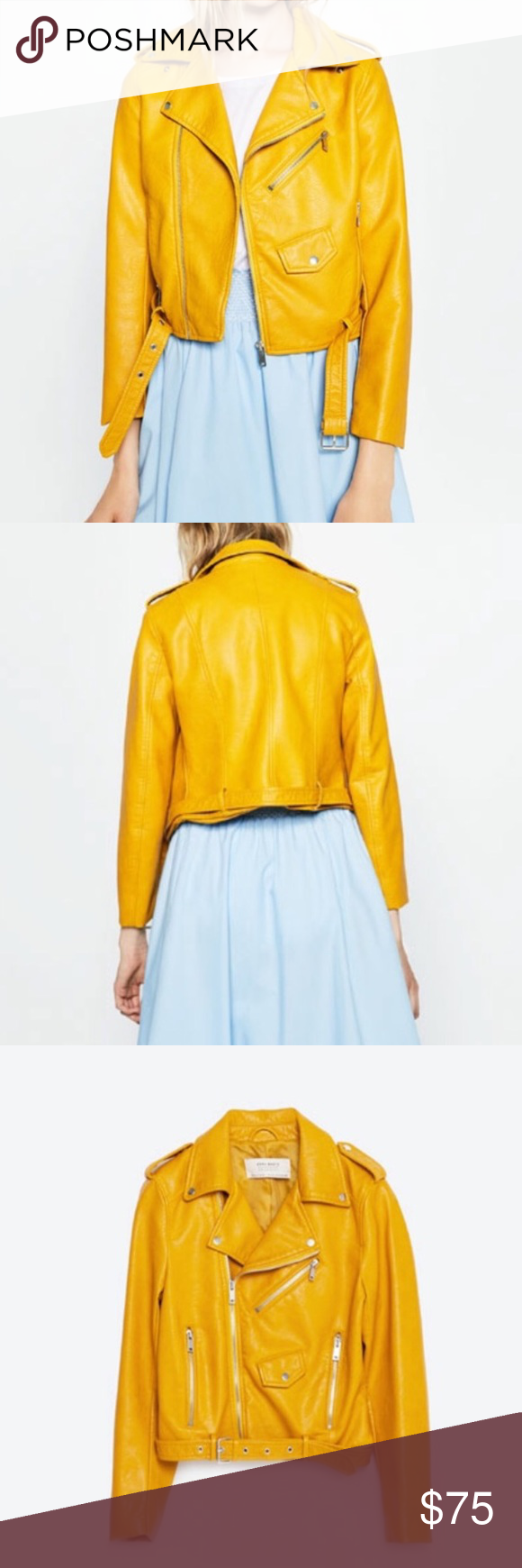 Zara Leather Jacket Mustard Yellow BRAND NEW WITH TAGS